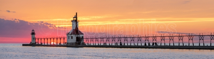 St  Joseph Lighthouses Sunset Panorama