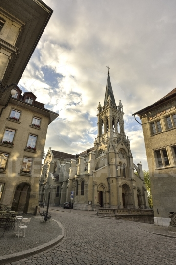 St. peter and paul church from unesco old city of bern. switzerland.