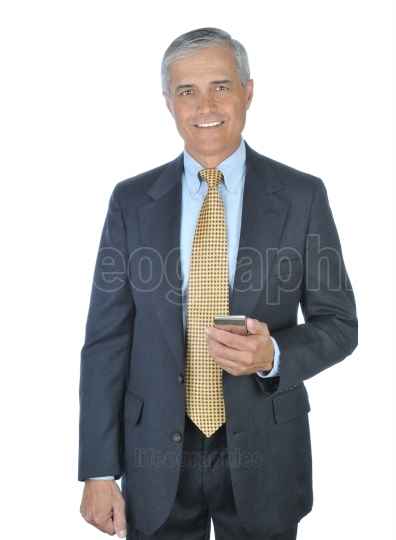 Standing Businessman with Electronic Device