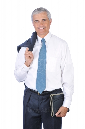 Standing Businessman with Jacket over his shoulder