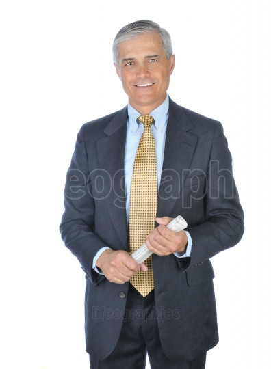 Standing Businessman with newspaper