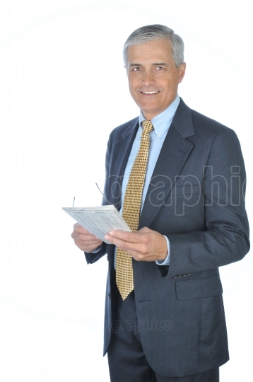 Standing Businessman with Newspaper isolated