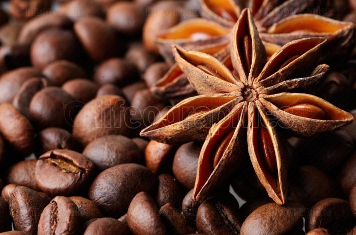 Star anise and coffee beans