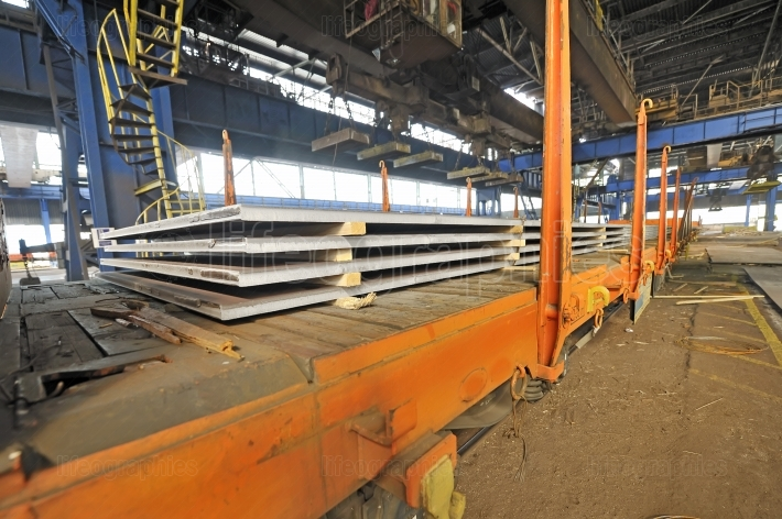 Steel sheet cargo on railway