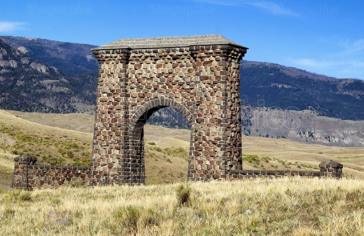 Stone Archway Entrance to Yellowstone National Park