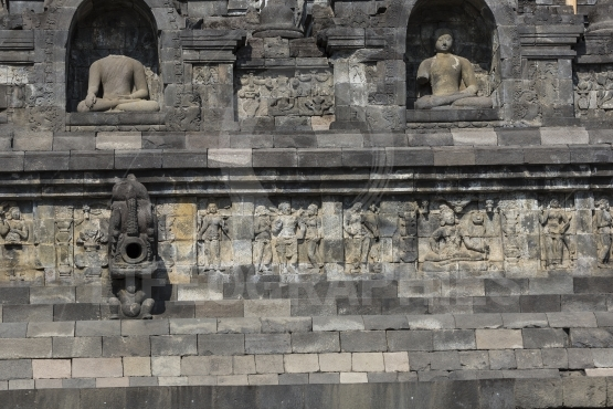 Stoned image of Buddha in Borobudur, Indonesia