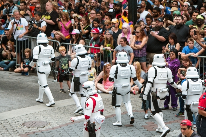 Storm Troopers Interact With Huge Crowd At Dragon Con Parade