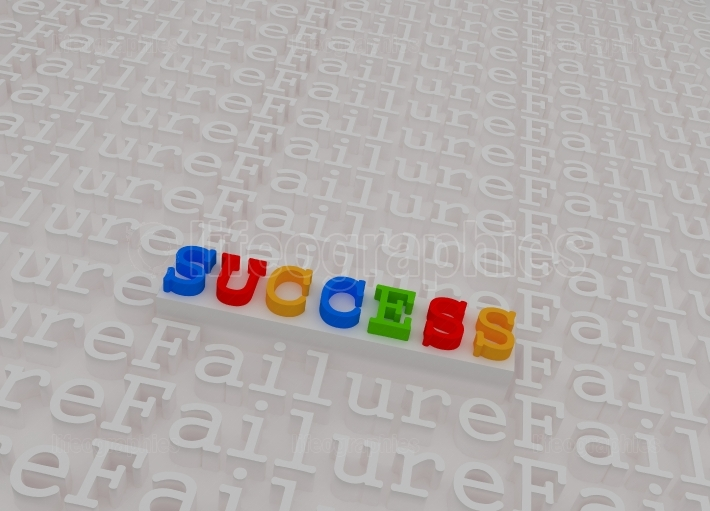 Success &amp  failure colorful 3d text