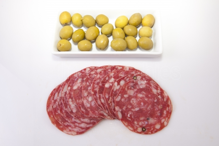 Summer sausage with olives