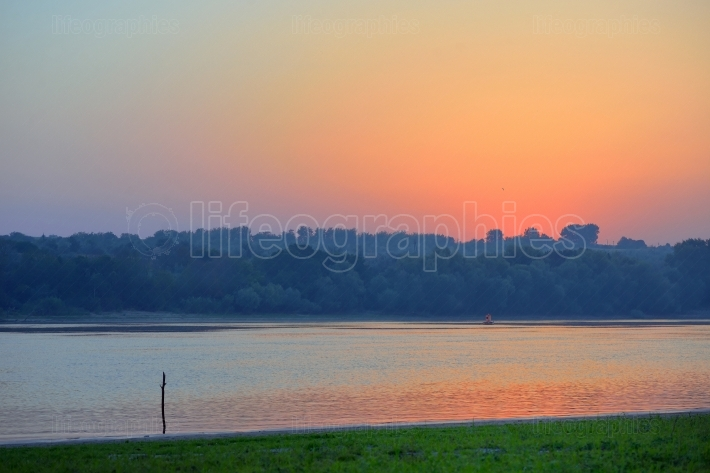 Sunrise over Danube river
