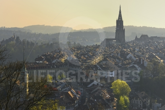 Sunset over Bern city