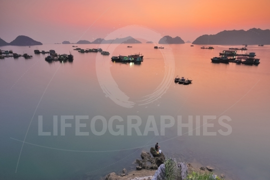 Sunset over harbour in Vietnam