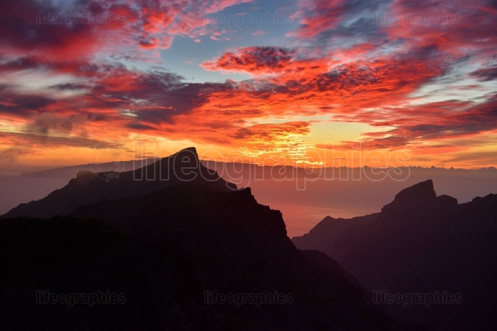 Sunset over Masca village in Tenerife island, Canary Spain