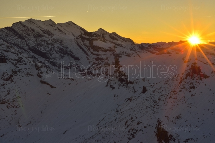 Sunset view from Schilthorn 360° Restaurant Piz Gloria