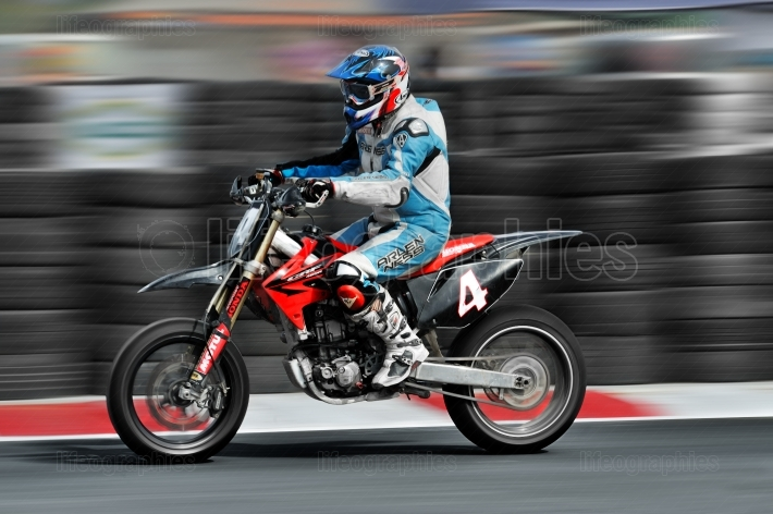 Supermoto rider in action