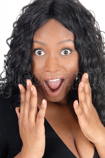 Surprised African woman.