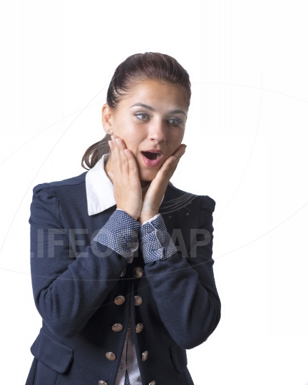 Surprised woman putting hands on her mouth