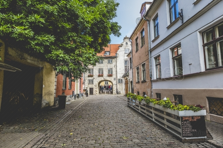 Swedish Gate in the old city of Riga, Latvia