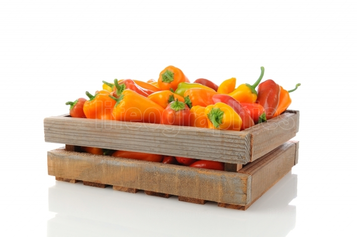 Sweet Peppers in Wood Crate