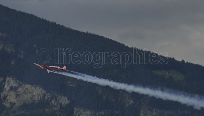 Swiss f-5e tiger formation at patrouille suisse show