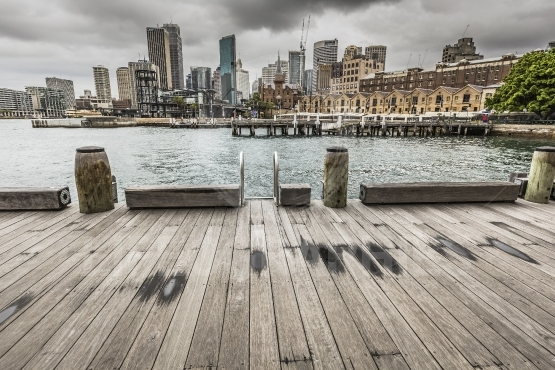 SYDNEY   OCTOBER 25 Ccircular Quay waterfront,  piers at cloudy