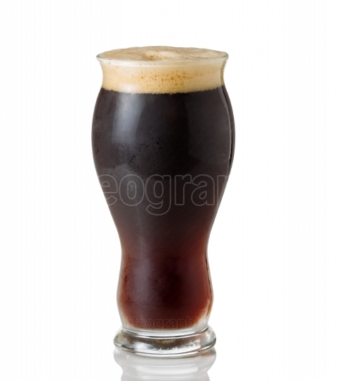 Tall Shapley Glass filled with cold dark beer