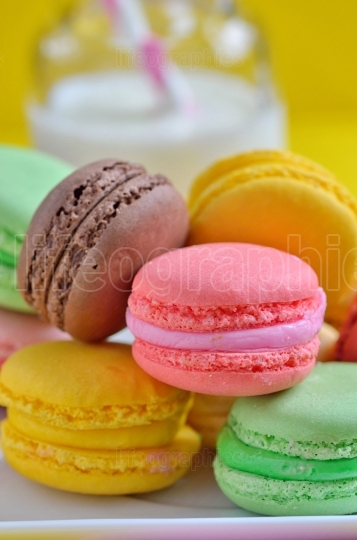 Tasty Colorful macaroons on plate