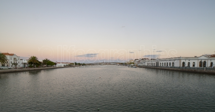 Tavira panoramic from town military bridge to fishing port, Port