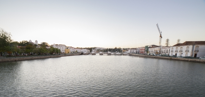 Tavira panoramic from town military bridge to roman bridge, Port
