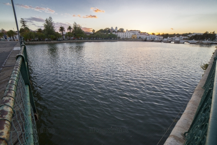 Tavira skyline sunset from town military bridge, Portugal