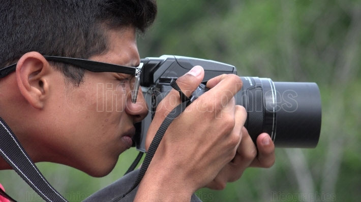 Teen Boy With Photography Camera