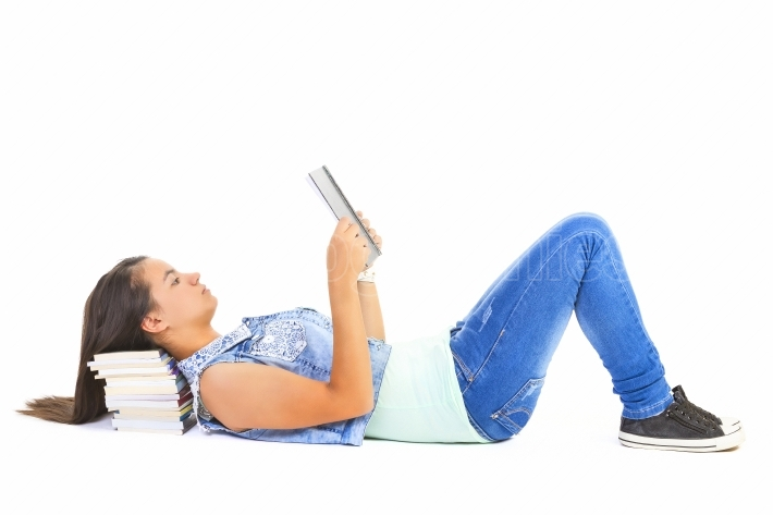 Teenager girl reading book