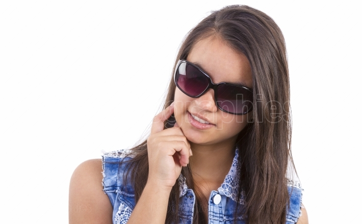 Teenager girl with sun glasses
