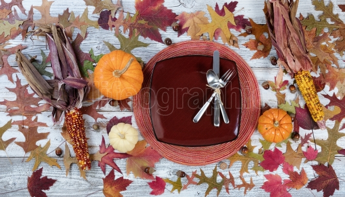 Thanksgiving Traditional Dinner Setting Background