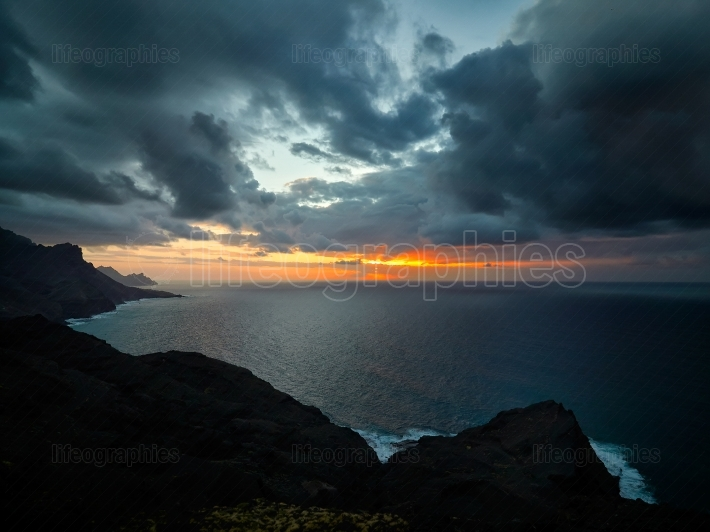 The coast of Atlantic ocean at  sunset, Gran Canaria, Canary isl
