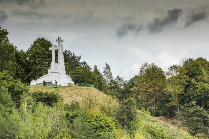The composition of the three crosses on bald mountain in vilnius