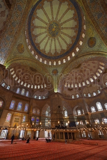 The interior of the Blue Mosque (Sultanahmet Mosque) in Istanbul, Turkey