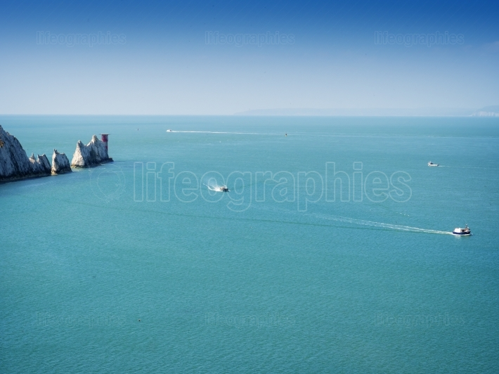 The Needles rock formation on the Isle Of Wight England