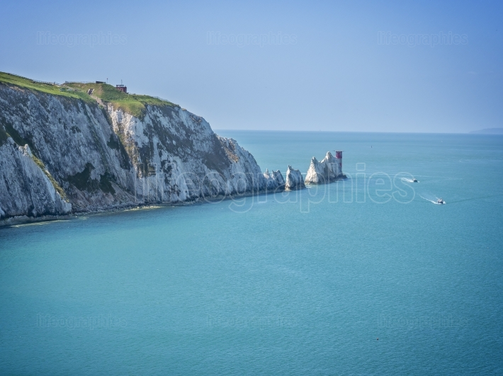 The Needles rock formation on the Isle Of Wight England UK