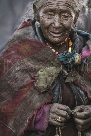 The oldest lady from Korzok village, recognized as holy.
