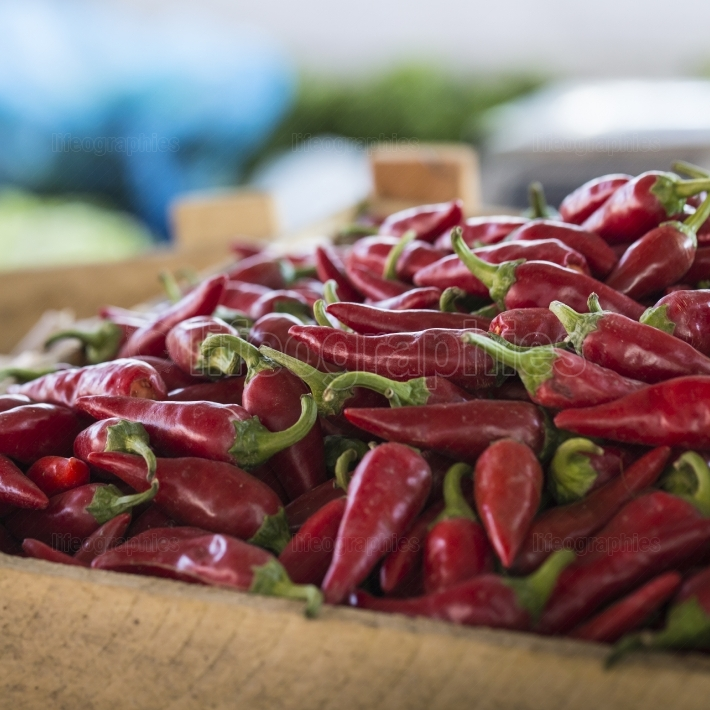The picture shows a pile of small, red, very hot and spicy chill
