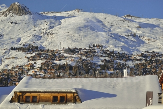 The skiing village of verbier in the snow