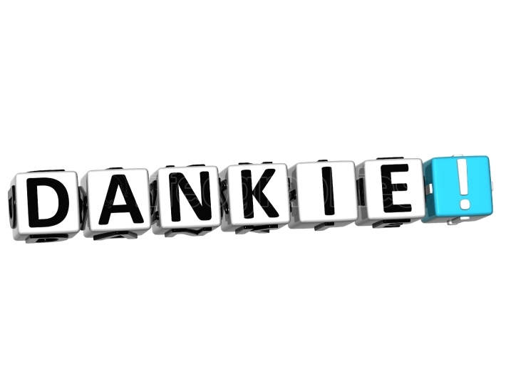 The word Dankie   Thank you in many different languages