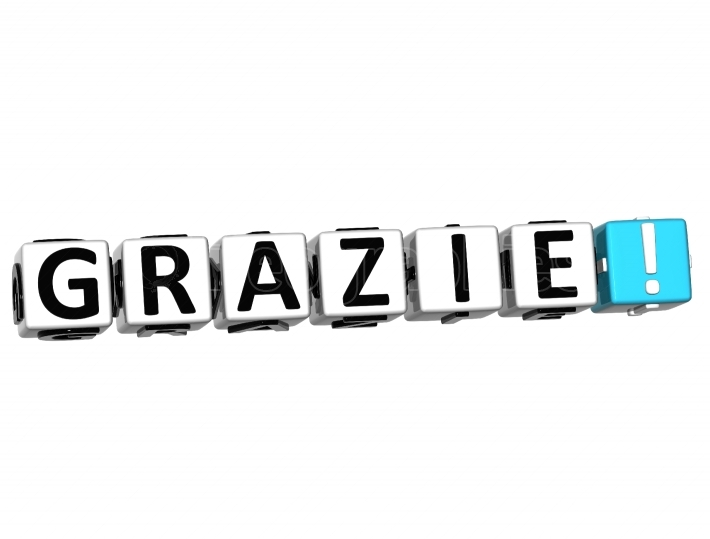 The word Grazie   Thank you in many different languages
