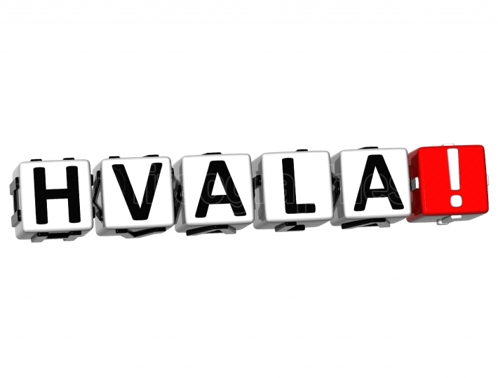 The word Hvala   Thank you in many different languages