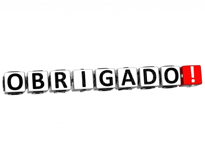 The word Obrigado   Thank you in many different languages