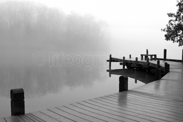 Thick Fog Covers Wooden Dock And Lake On Winter Day