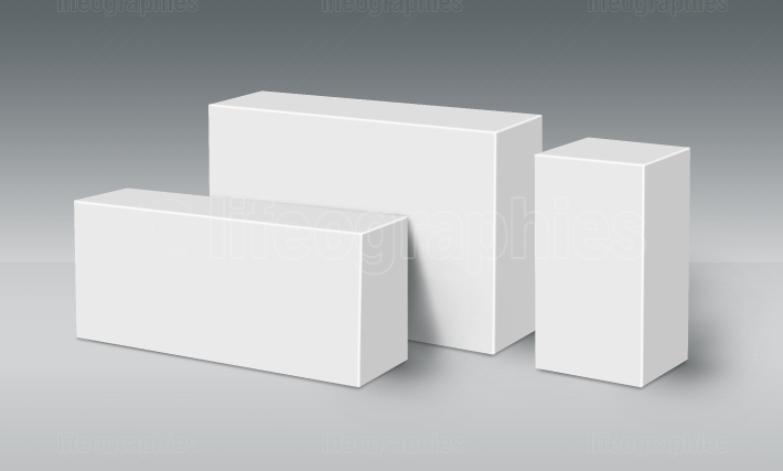 Three 3D White Boxes on Ground