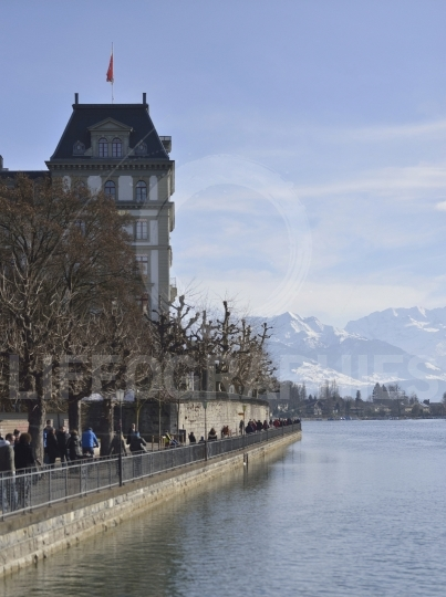 Thun lake and city with Swiss Alps in background