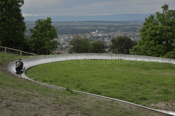 Toboggan track on gurten hill. Bern. Switzerland